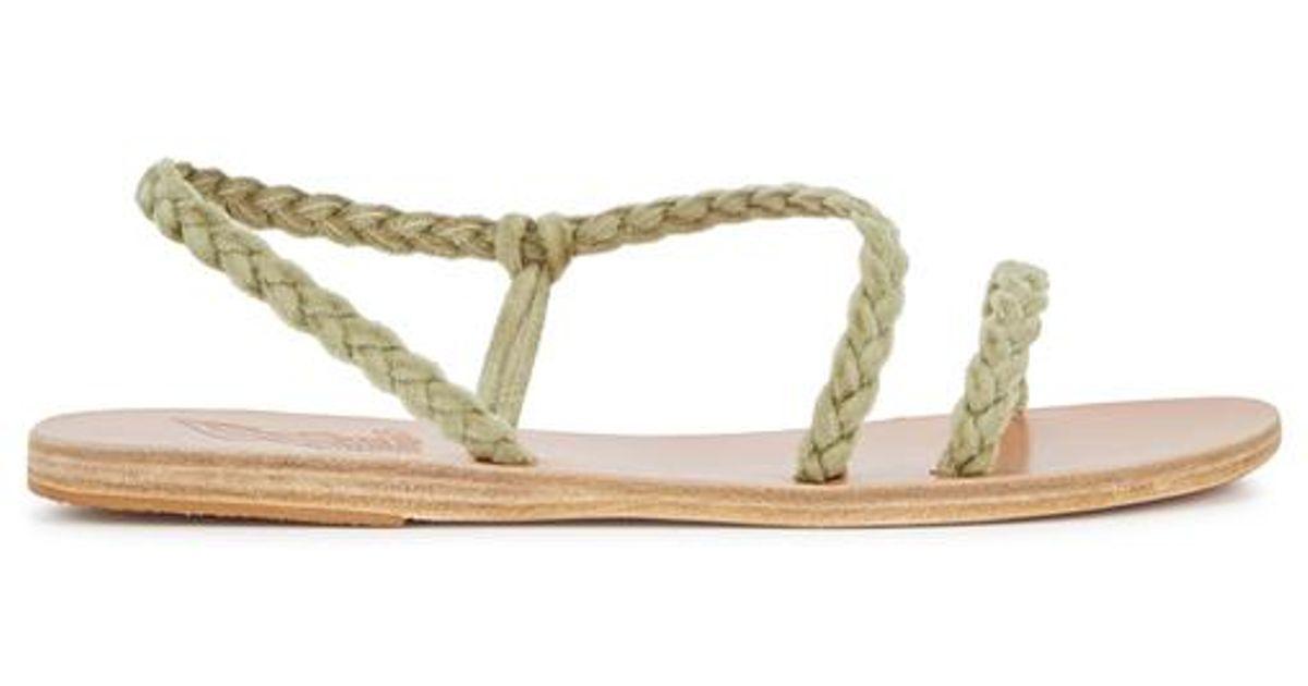 475a4f1e8cc5a Ancient Greek Sandals Anaxo Plaited Velvet Sandals in Green - Lyst