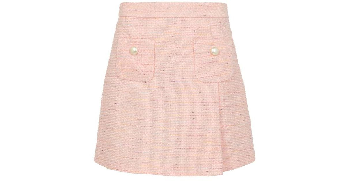 b12ef66f Lyst - Boutique Moschino Pink Button-embellished Tweed Skirt in Pink