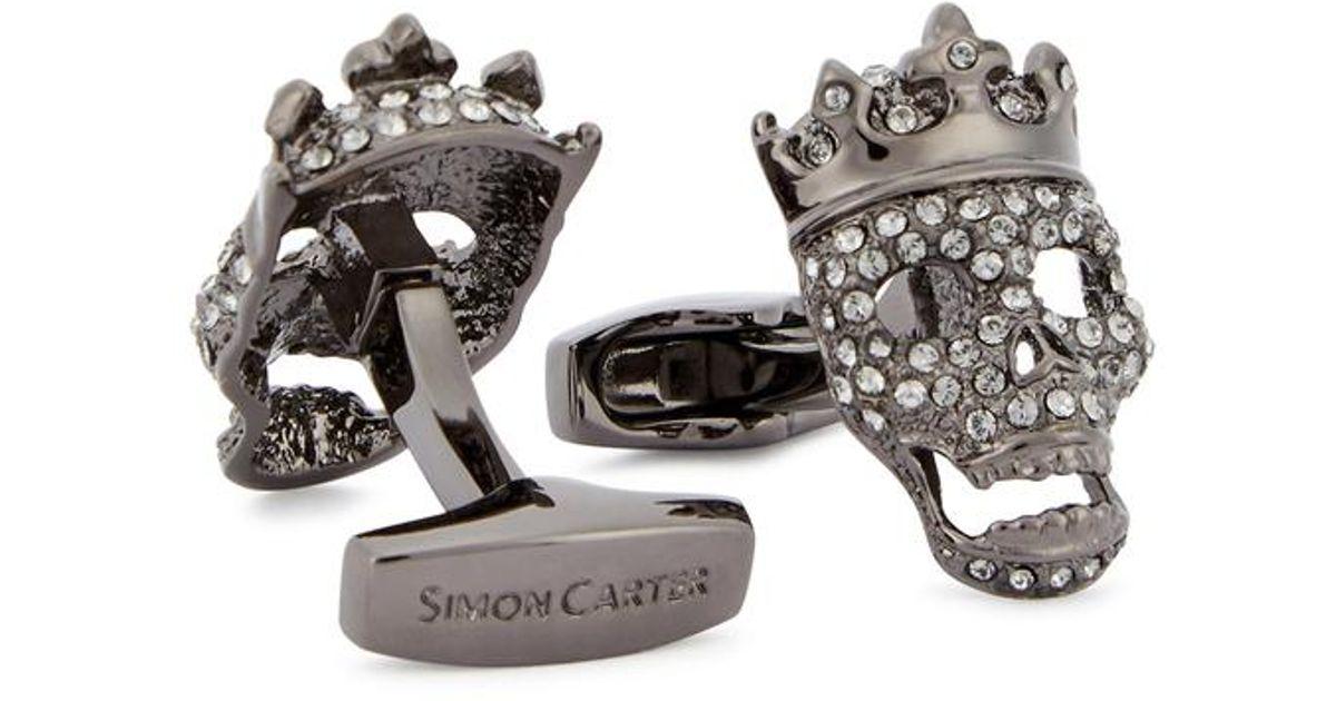 c256836d3968 Simon Carter Tattoo Crowned Swarovski Cufflinks in Metallic for Men - Lyst