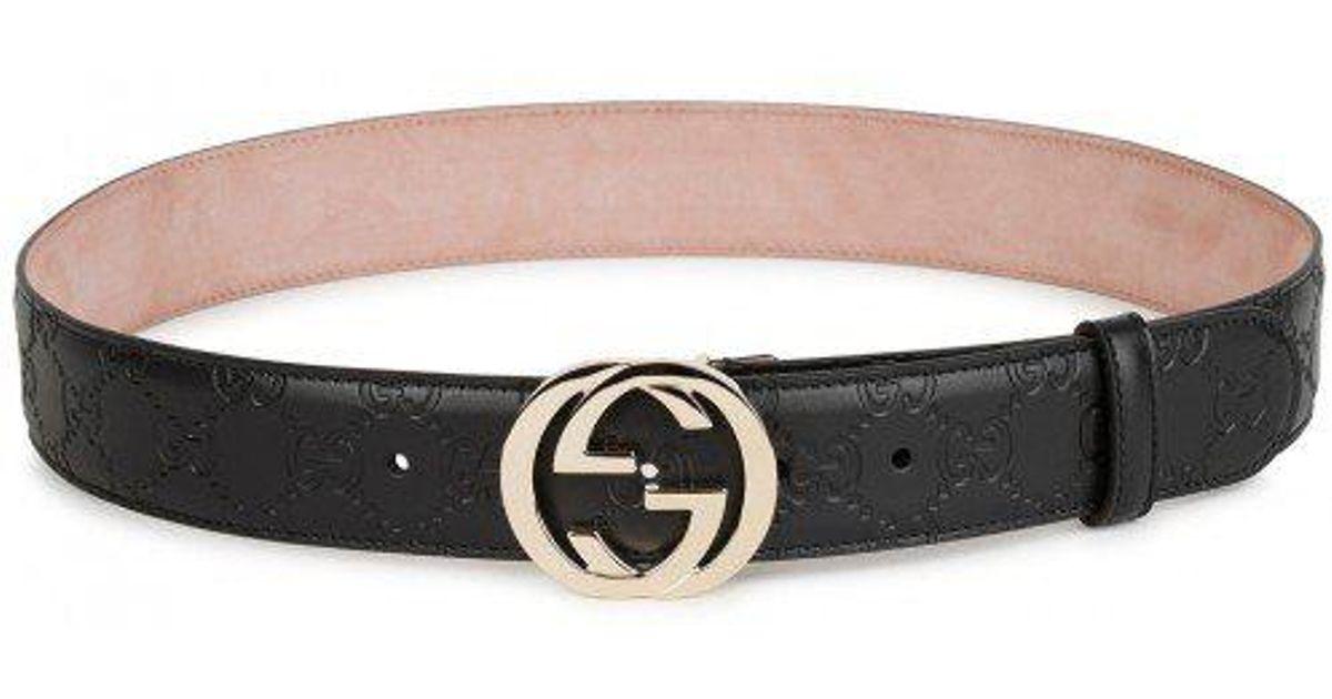 3fe60c7088c Gucci Gg Monogrammed Leather Belt in Black for Men - Lyst
