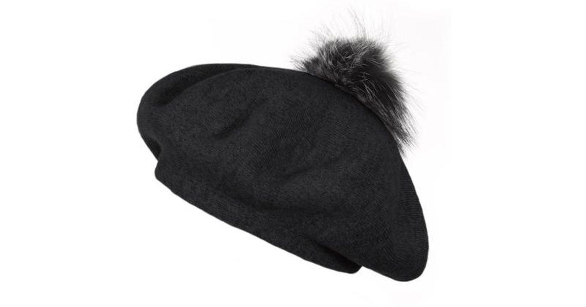 cb4c2557 Popski London Bella Beret Fur Pom Pom Hat Black With Silver Fox Fur Pom Pom  in Black - Lyst