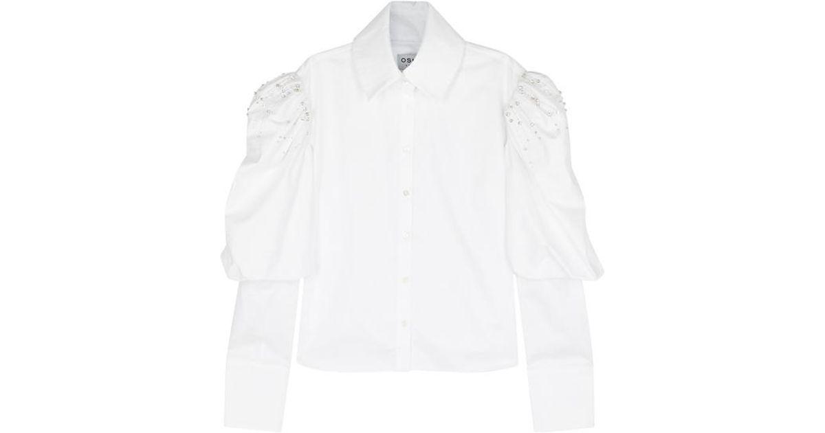 Ciara asymmetric peplum-hem cotton shirt Osman Discount Newest SYZsH9
