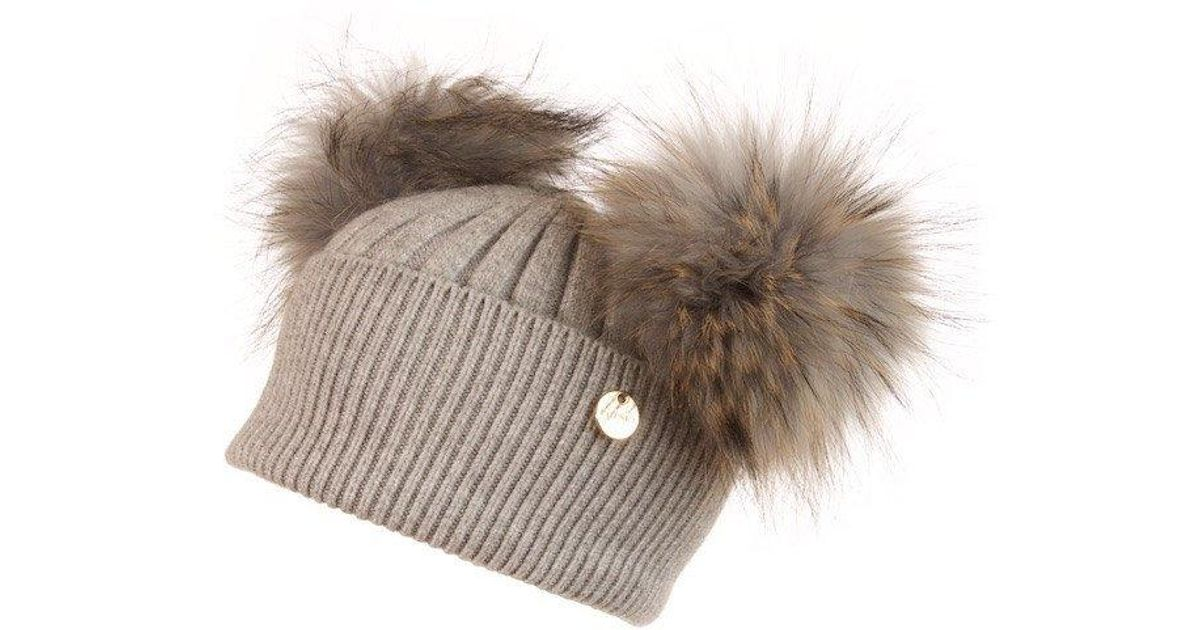 c1ca848b8 Popski London Gray Double Angora Fur Pom Pom Hat Whisper Grey