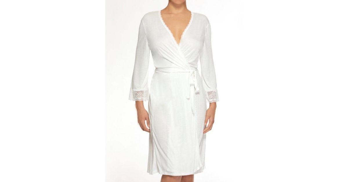 Hanky Panky Stretch Lace Kimono Robe In Light Ivory White Lyst