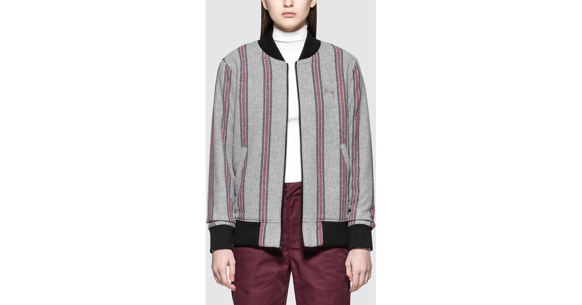 544f0f162 Stussy Gray Wool Stripe Bomber Jacket