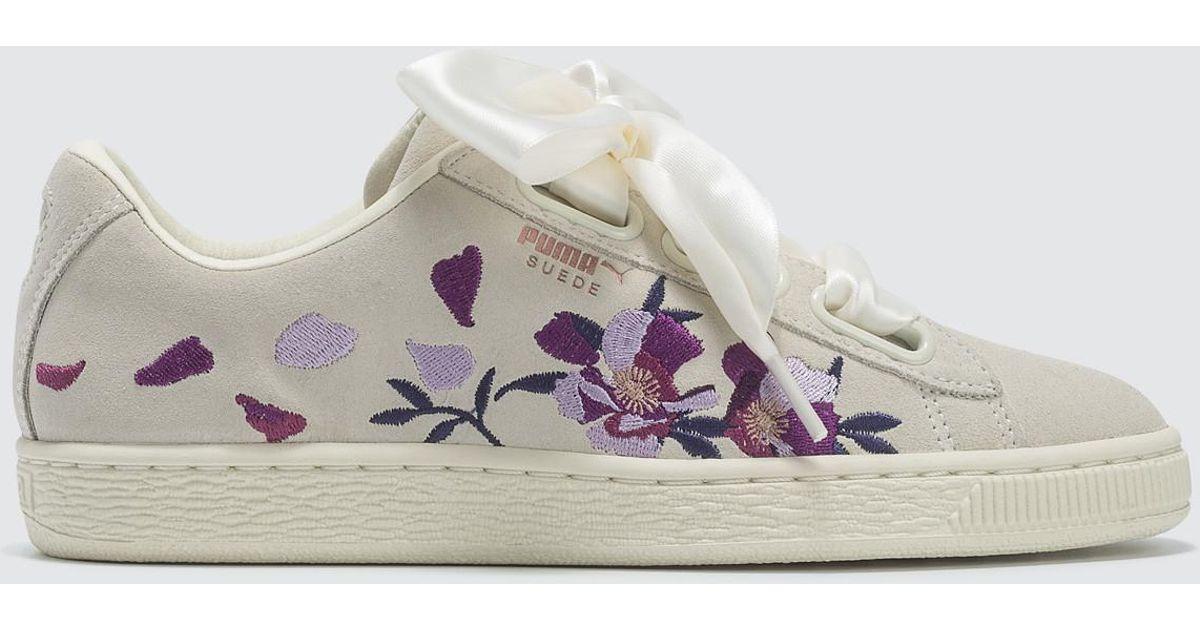 Puma Heart Suede F76ybyg Flowery Wn's White K1Ju5TFlc3