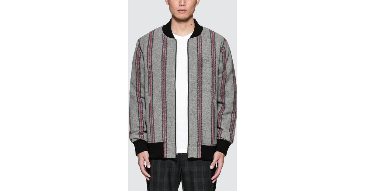 910f7249b Stussy Gray Wool Stripe Bomber Jacket for men