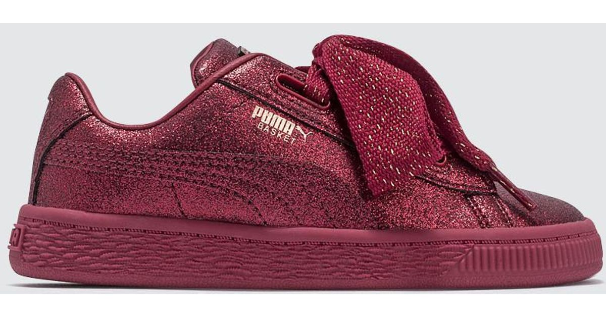 Lyst - PUMA Basket Heart Holiday Glamour Infant in Red e7321288c