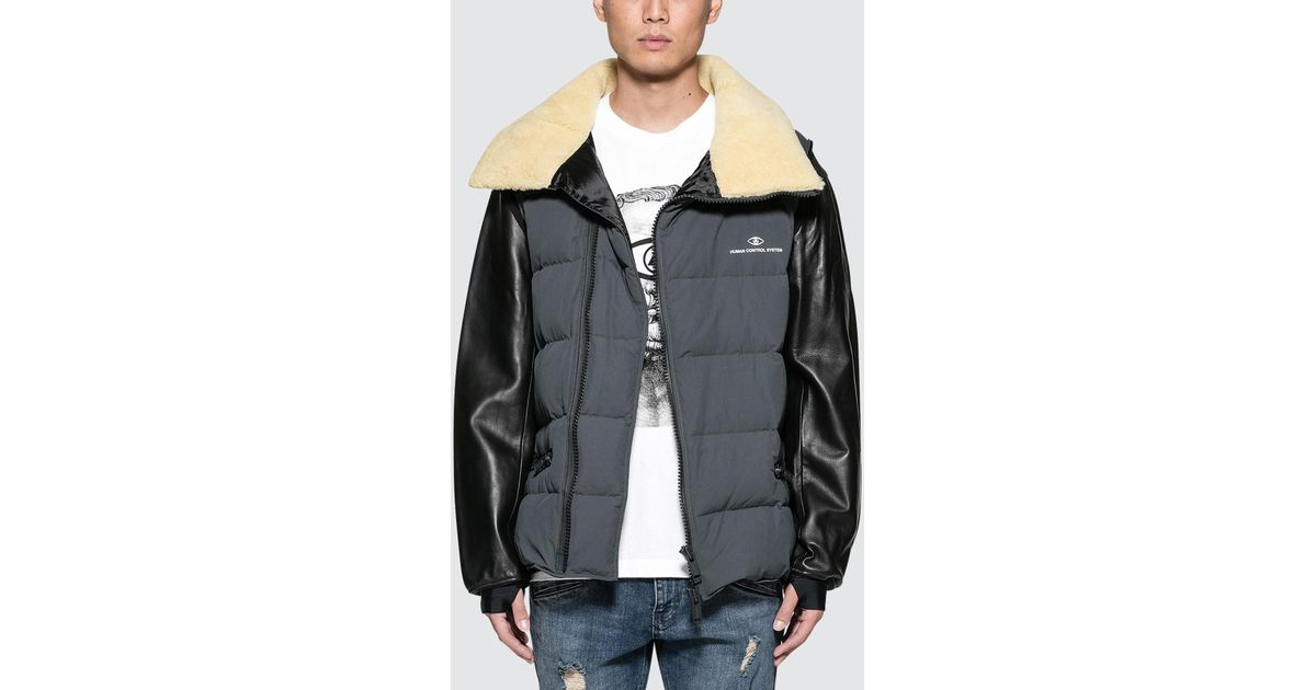 b35b30545f Undercover Gray Puffer Jacket With Shearling Collar And Leather Sleeve for  men