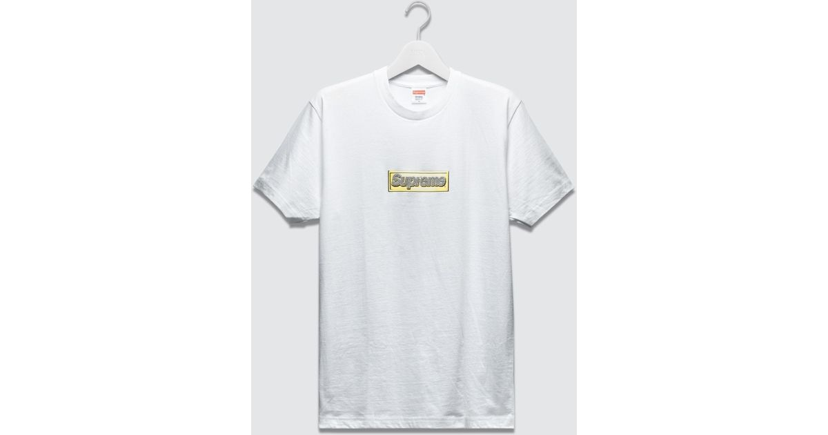 Supreme 2013 Bling Box Logo T-shirt In Gold/White (White) For Men
