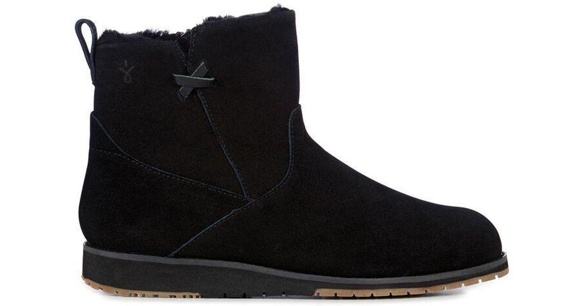 75e44de2c99 EMU Beach Mini Black Suede Merino Wool Lined Boot