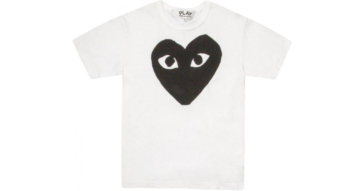defd322b7ffbec Lyst - Comme des Garçons Play Womens Classic Black Heart T-shirt White in  Black