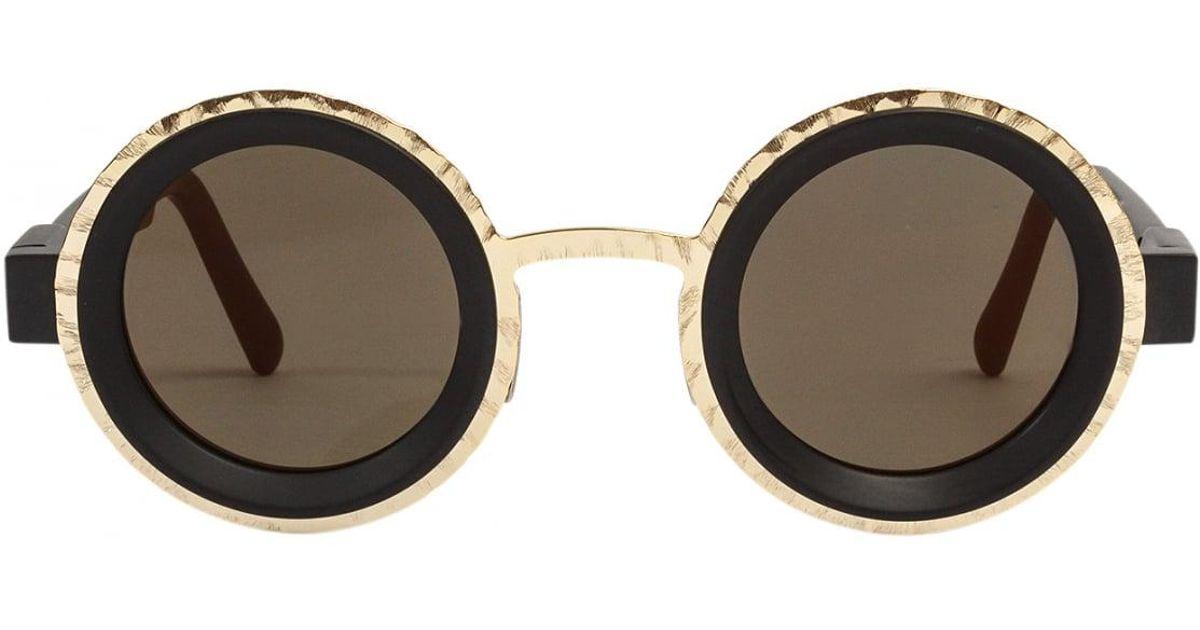 Lyst - Kuboraum Circle Frame Sunglasses Black/gold in Black
