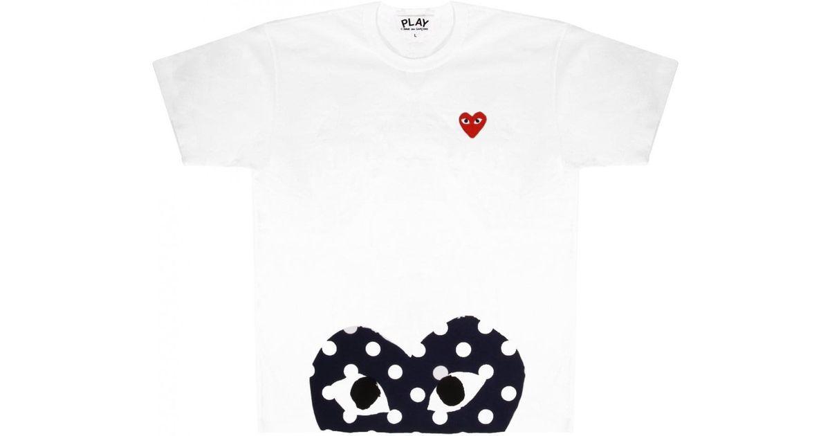 02a5d453ec34 Comme des Garçons Play Mens Half Polkadot Red Heart T-shirt White in Red -  Lyst