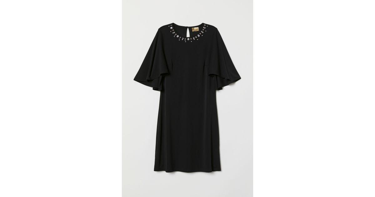 471ebb7fefd6 Lyst - H&M Butterfly-sleeved Dress in Black