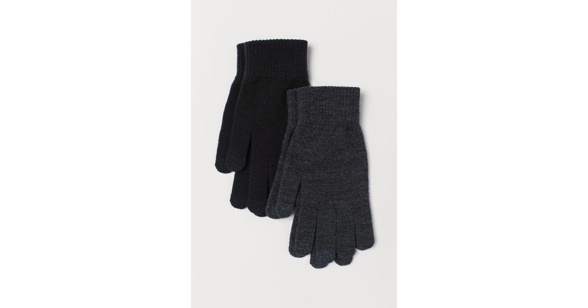 new york aliexpress hot sale online H&M 2er-Pack Smartphone-Handschuhe in Black für Herren