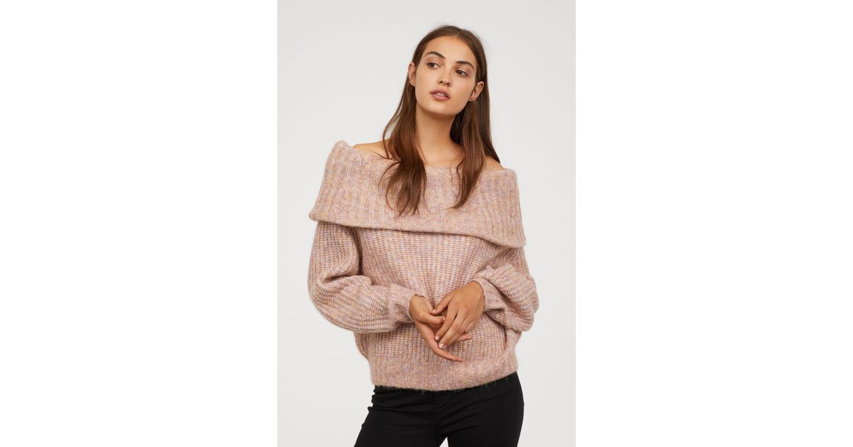 9b4fde31134f H&M Off-the-shoulder Sweater in Pink - Lyst