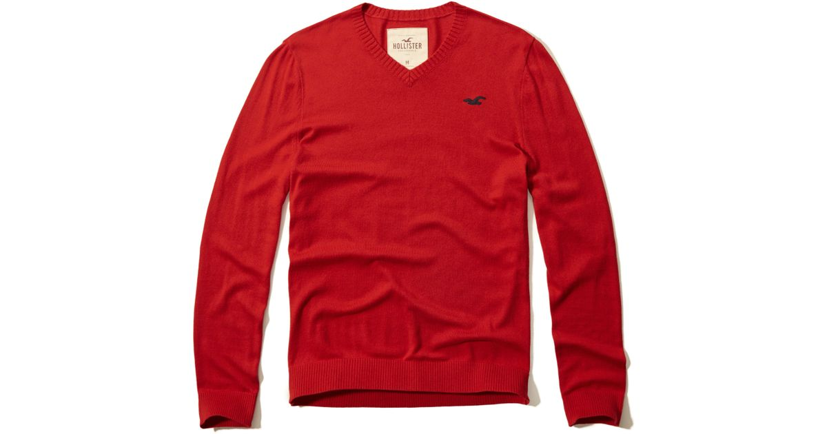 Hollister Sweaters Hollister Hoodies Hollister Shirts Hollister Jacket Hollister Pants Hollister Jeans: Hollister Iconic V-neck Sweater In Red For Men
