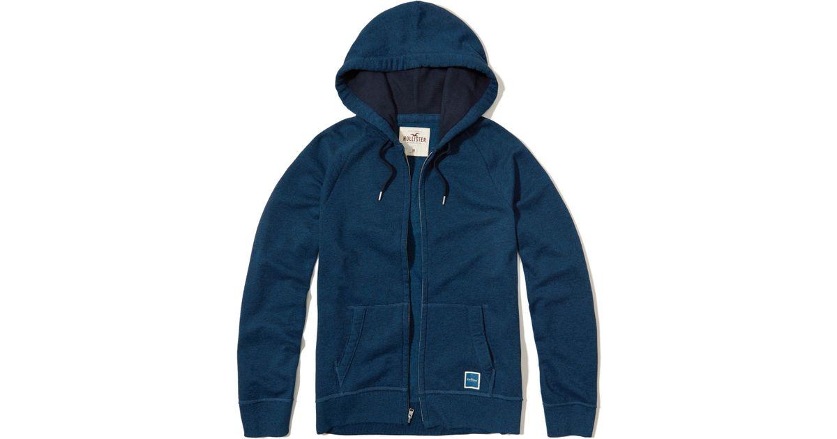 Hollister Sweaters Hollister Hoodies Hollister Shirts Hollister Jacket Hollister Pants Hollister Jeans: Hollister Full-zip Hoodie In Blue For Men