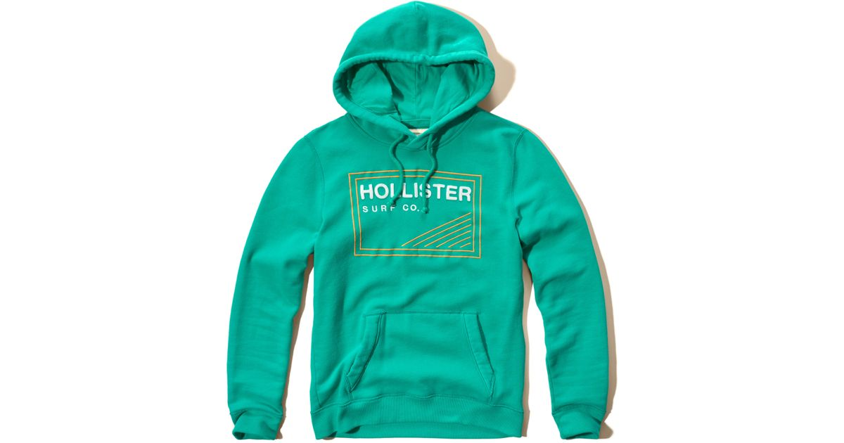 Hollister Sweaters Hollister Hoodies Hollister Shirts Hollister Jacket Hollister Pants Hollister Jeans: Hollister Applique Logo Graphic Hoodie In Green For Men