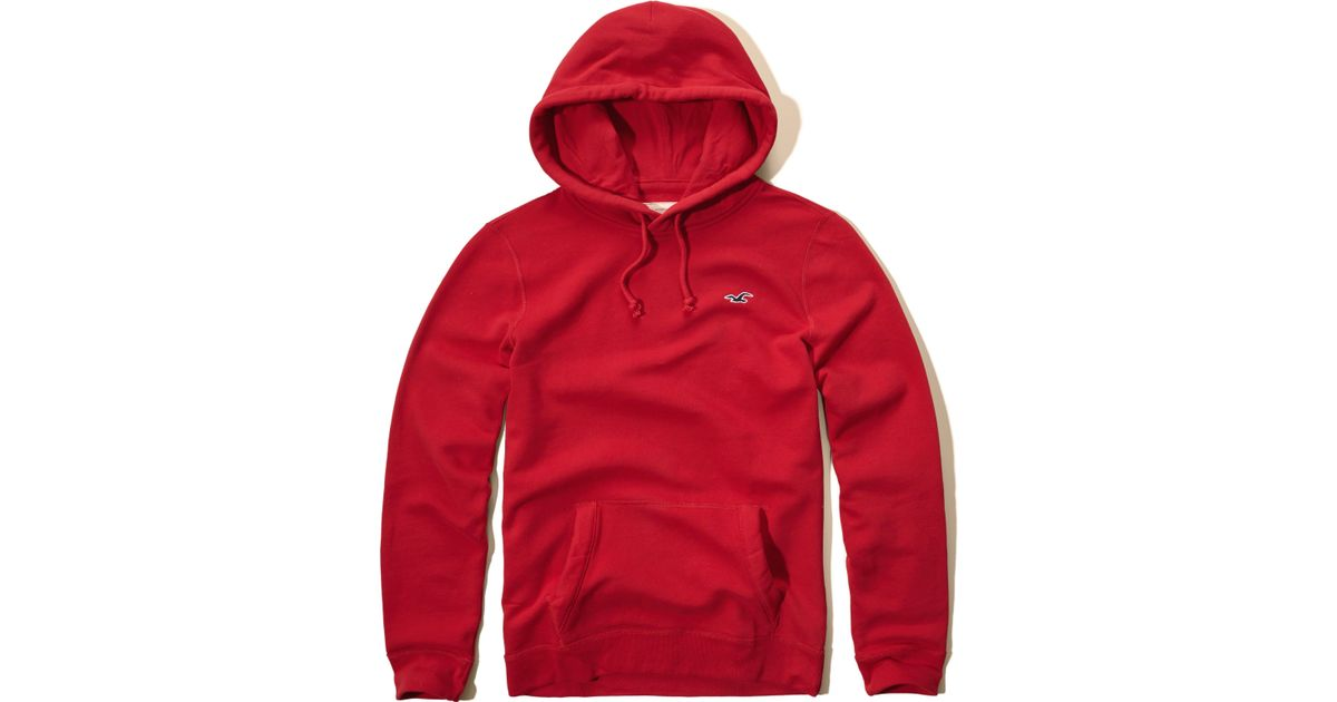 Hollister Sweaters Hollister Hoodies Hollister Shirts Hollister Jacket Hollister Pants Hollister Jeans: Hollister Iconic Fleece Hoodie In Red For Men