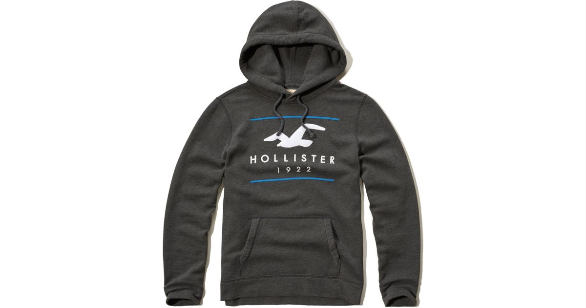 Hollister Logo Graphic Fleece Hoodie In Gray For Men