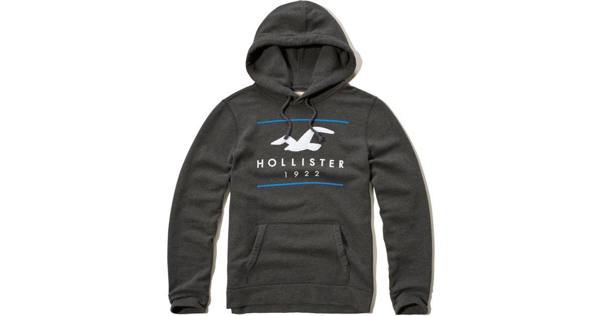 Hollister Sweaters Hollister Hoodies Hollister Shirts Hollister Jacket Hollister Pants Hollister Jeans: Hollister Logo Graphic Fleece Hoodie In Gray For Men