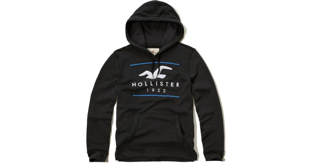 Hollister Logo Graphic Fleece Hoodie In Black For Men