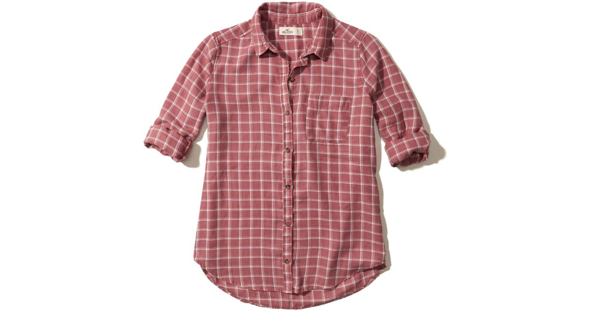 Lyst Hollister Oversized Plaid Shirt In Red