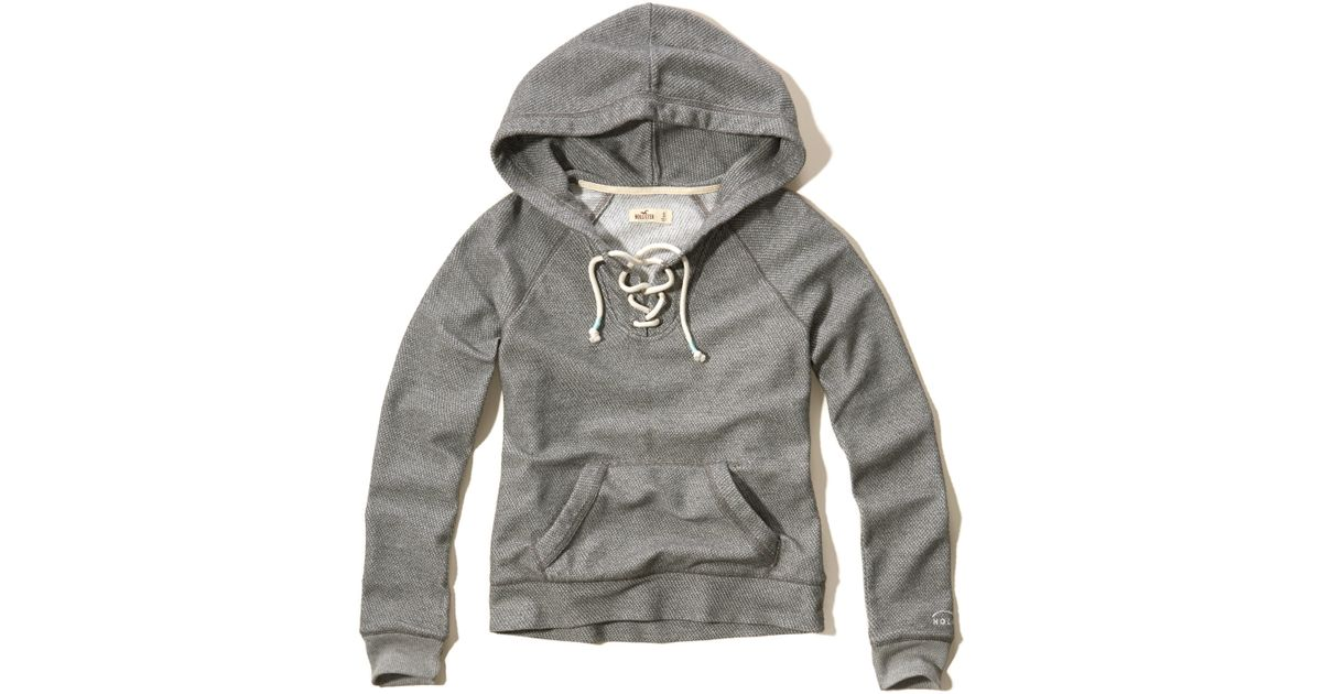 Hollister Sweaters Hollister Hoodies Hollister Shirts Hollister Jacket Hollister Pants Hollister Jeans: Hollister Lace-up Terry Hoodie In Gray