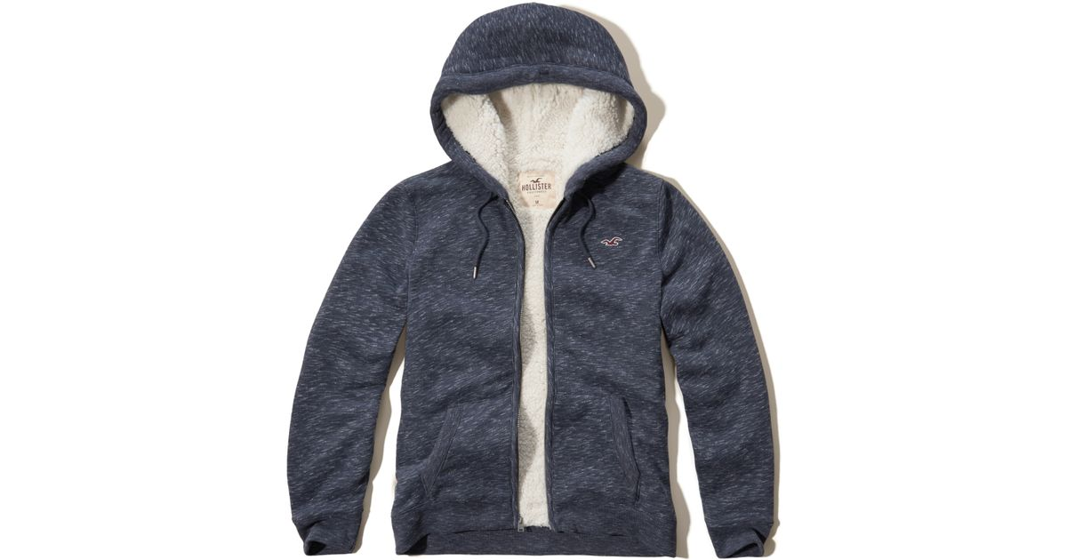 Hollister Sweaters Hollister Hoodies Hollister Shirts Hollister Jacket Hollister Pants Hollister Jeans: Hollister Textured Sherpa Lined Hoodie In Blue For Men