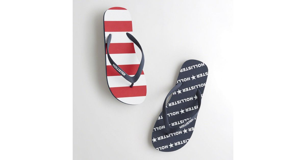 2c8ed42887ab43 Lyst - Hollister Guys Americana Flip Flops From Hollister in Blue