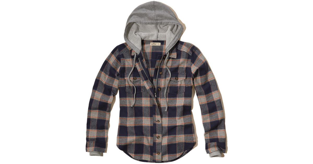 Hollister Hooded Flannel Shirt In Blue
