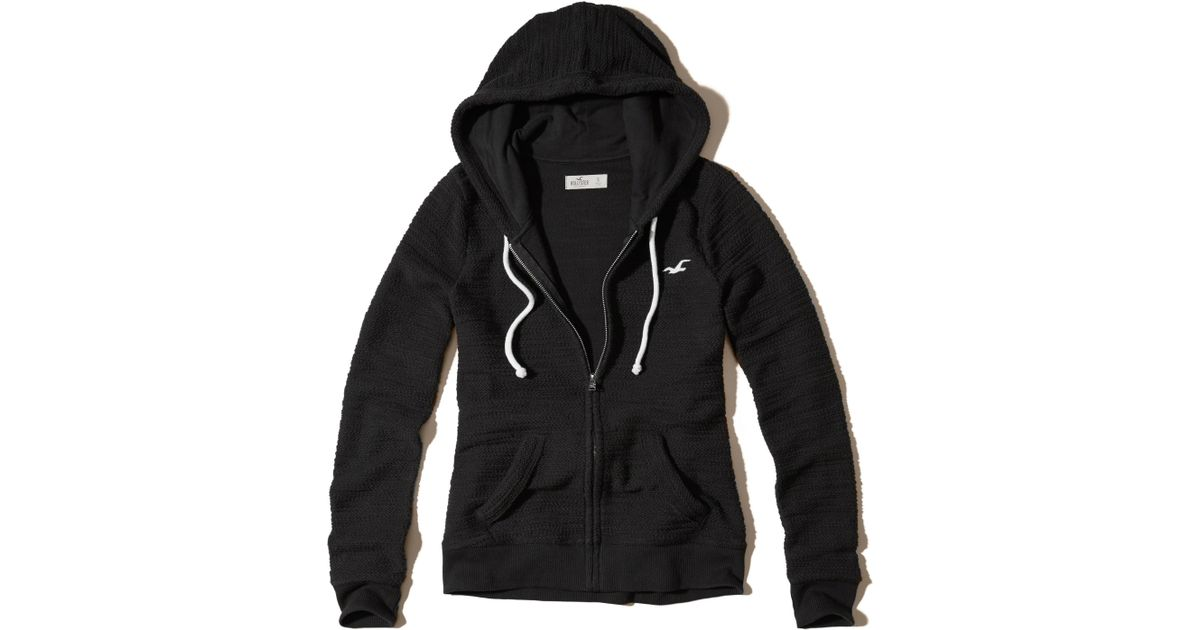 Hollister Sweaters Hollister Hoodies Hollister Shirts Hollister Jacket Hollister Pants Hollister Jeans: Hollister Full-zip Boucle Icon Hoodie In Black