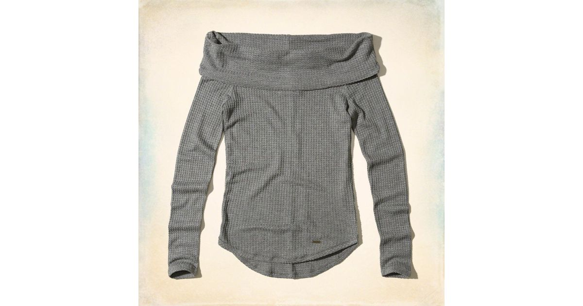 250dadeed5a3d6 Lyst - Hollister Must-have Off-the-shoulder Waffle Top in Gray