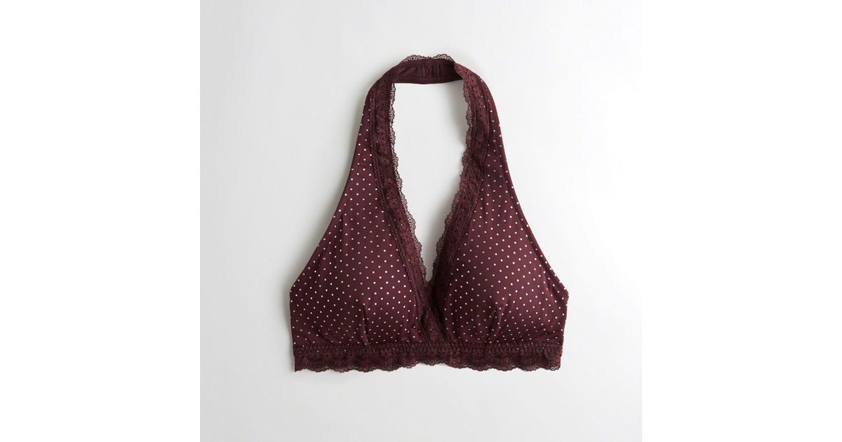 99b06ac721fb8 Lyst - Hollister Girls Lace-trim Halter Bralette With Removable Pads From  Hollister in Purple