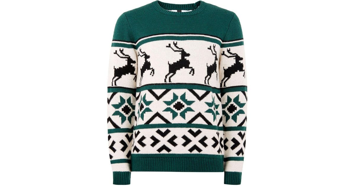 Topman Men's Green Christmas Fair Isle Jumper in Green for Men | Lyst