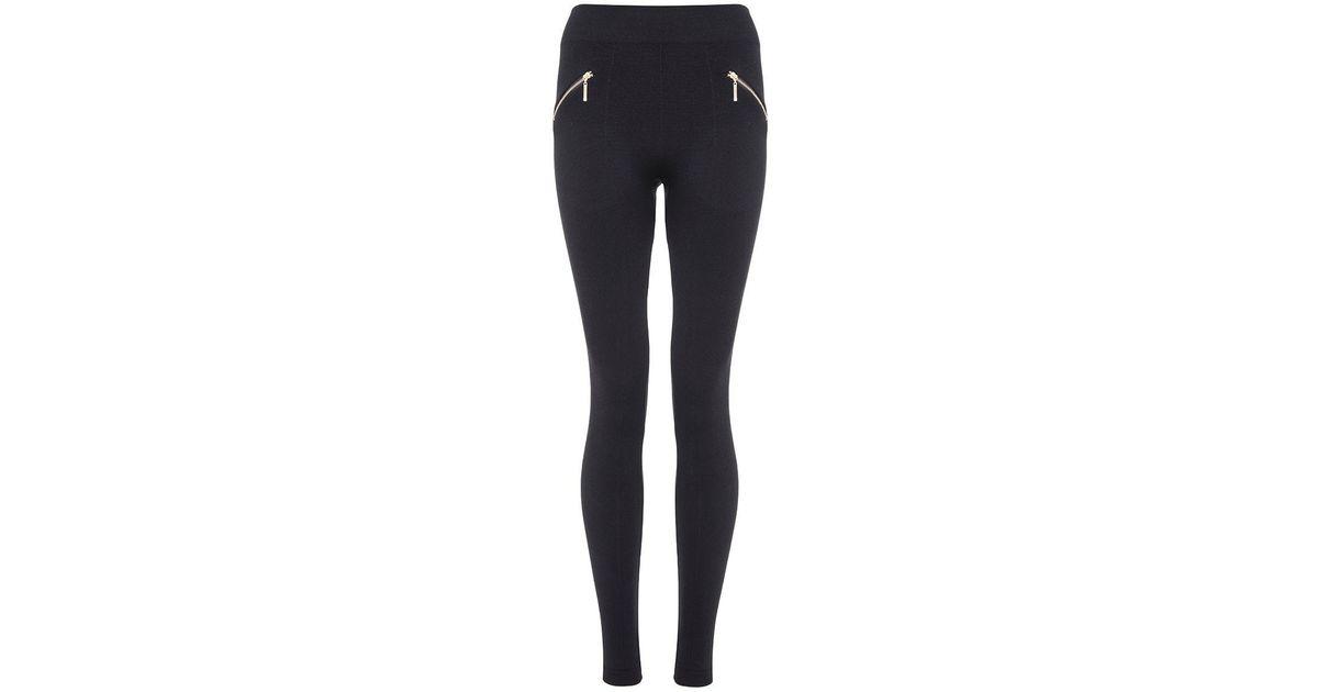 521398eb82c067 Quiz Black Fleece Lined Zip Detail Leggings in Black | Lyst