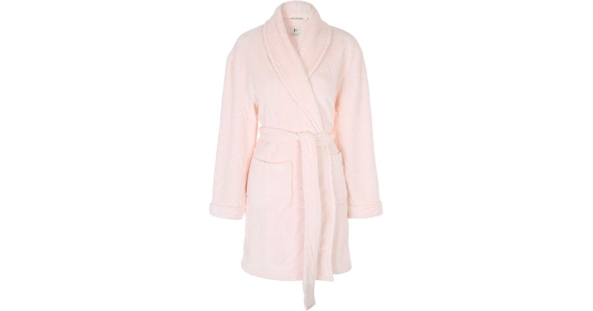 Lyst - Jane Norman Pink Heart Embossed Dressing Gown in Pink