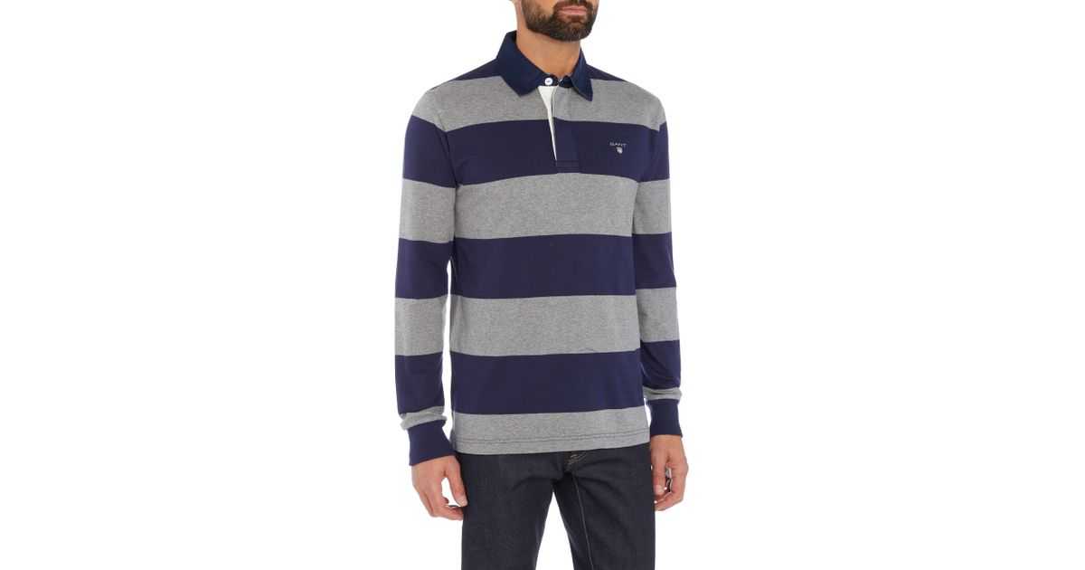 Gant striped long sleeve rugby shirt in blue for men grey for Long sleeve striped rugby shirt