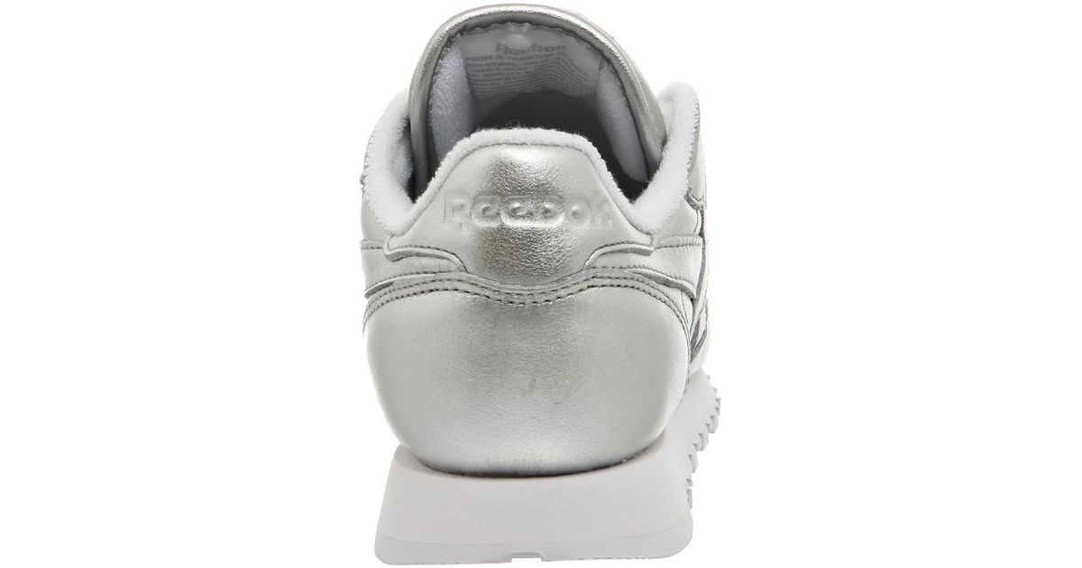 Reebok classic leather trainers in metallic silver lyst for Quality classic house of fraser