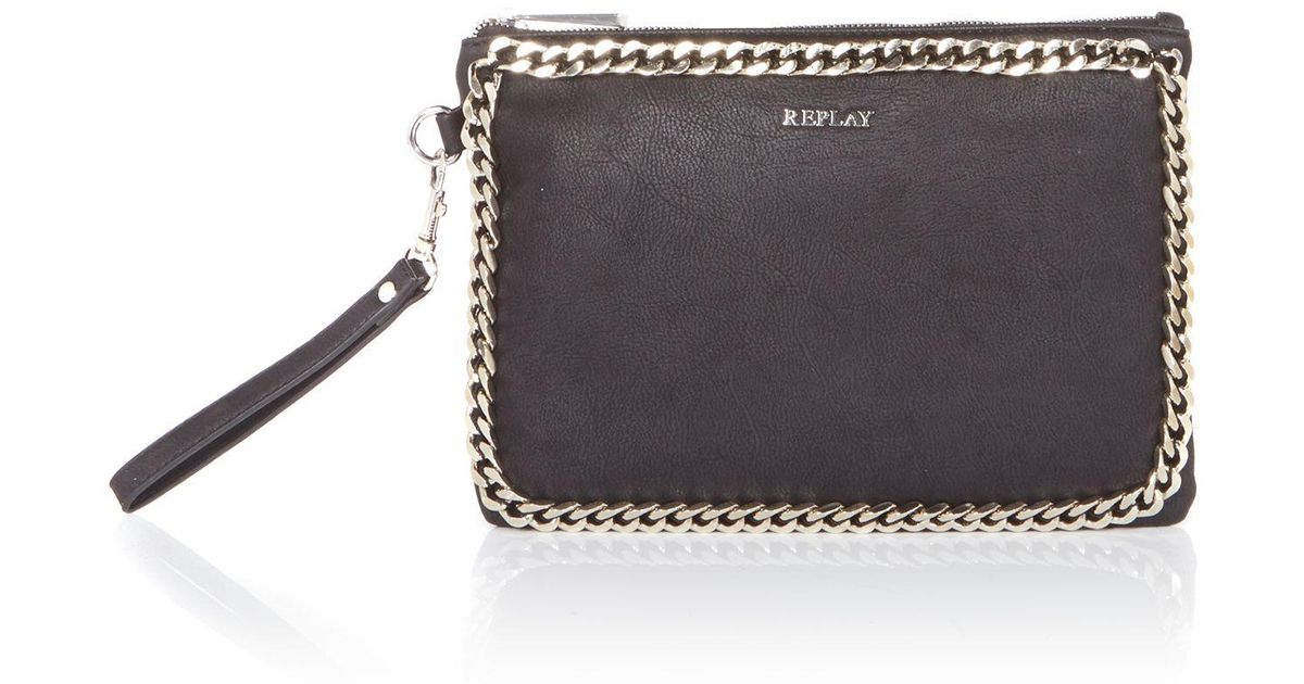 18e89c1a283a Lyst - Replay Clutch Bag in Black