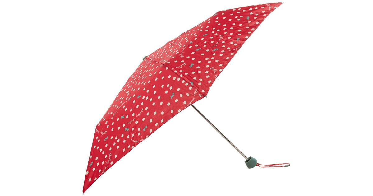 Radley vintage dog dot telescopic umbrella in red lyst for Quality classic house of fraser