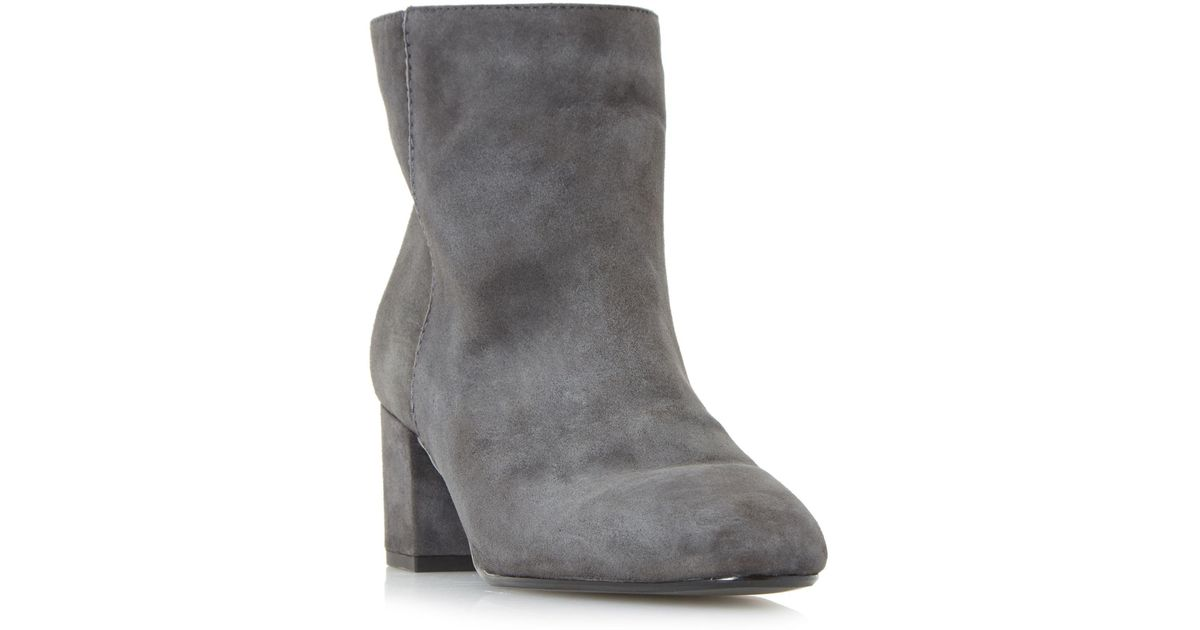 a7f41b91295 Dune Suede Grey 'olyvea' Mid Block Heel Ankle Boots in Gray - Lyst