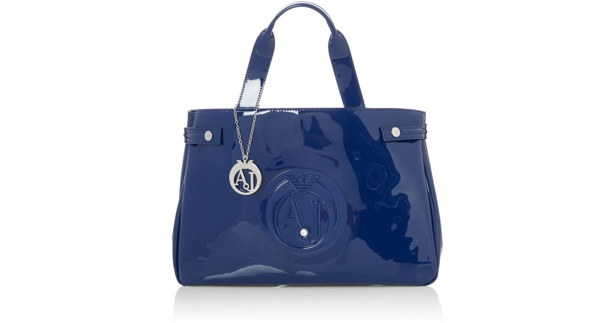 Lyst - Armani Jeans Eco Patent Large Tote Bag in Blue b908488a77