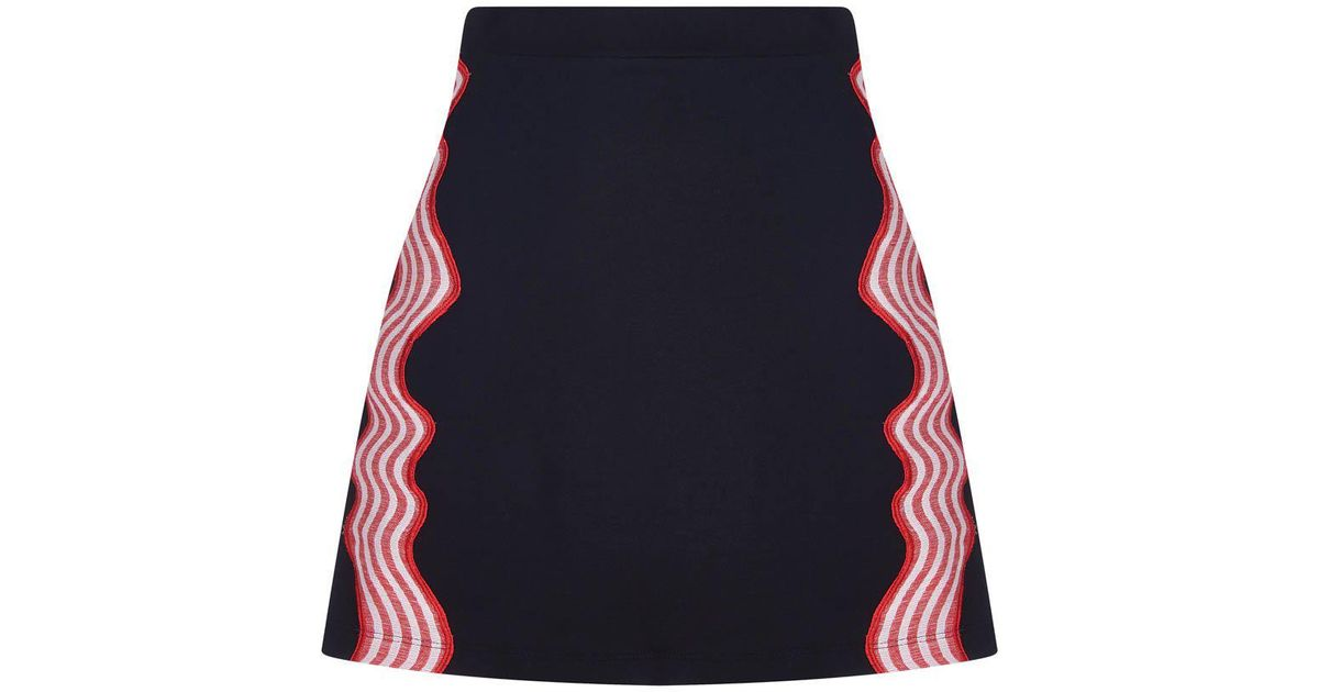 House of holland wave applique mini cotton skirt in black lyst