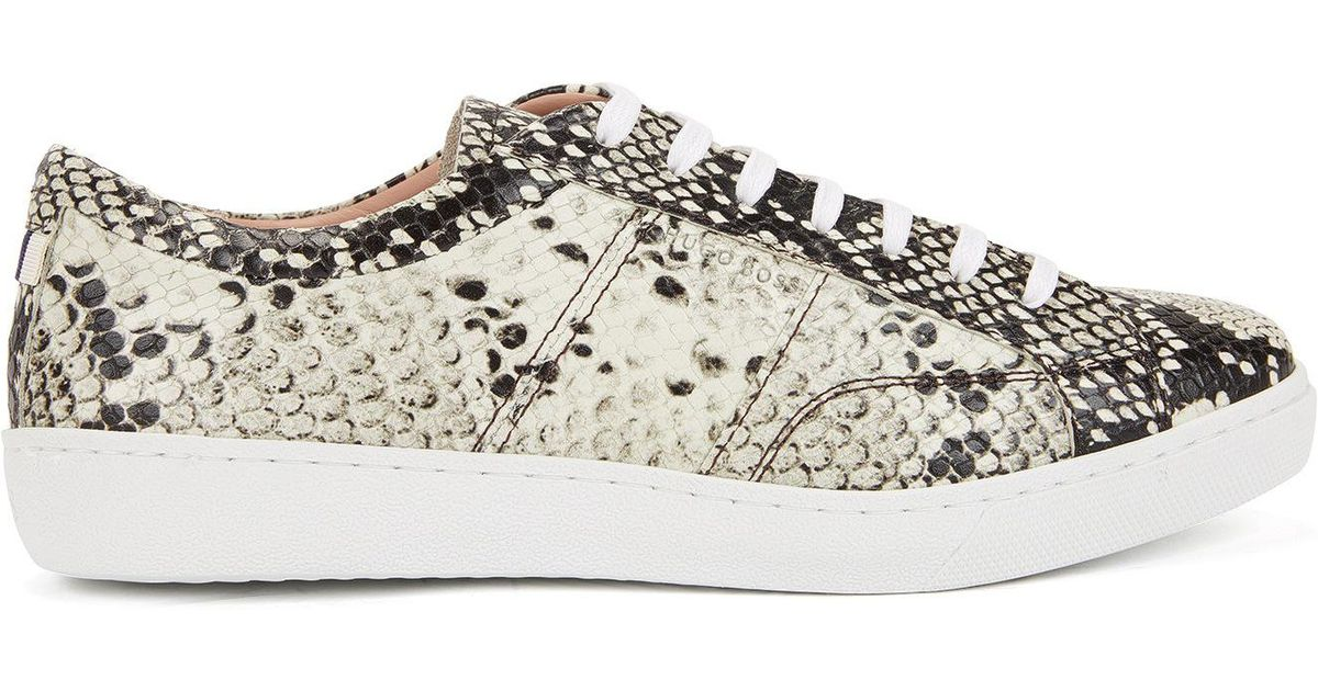 Lace-up trainers in printed calf leather BOSS d6nWBr