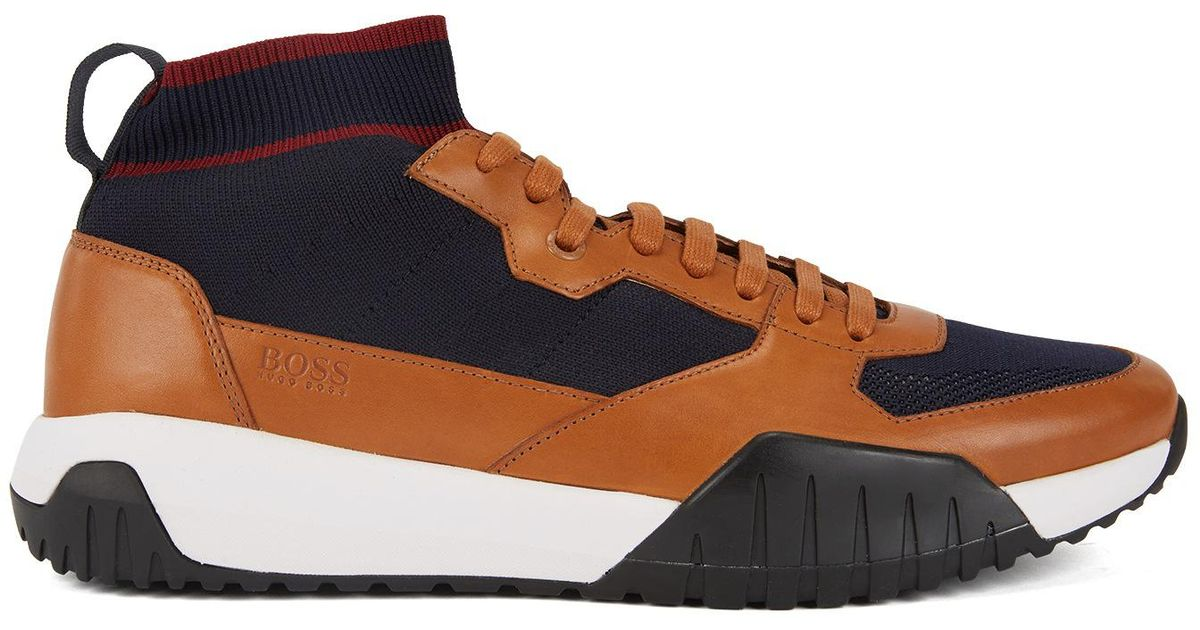 73781238546 Lyst - BOSS High-top Sock Sneakers With Calf-leather Trims for Men