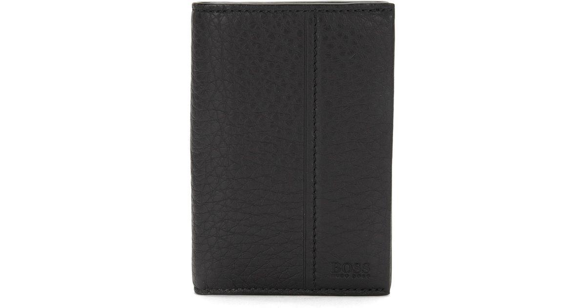 save off 79ff7 f5622 BOSS Black Vertical-format Card Case In Emed Leather: 'traveller_bifold'  for men