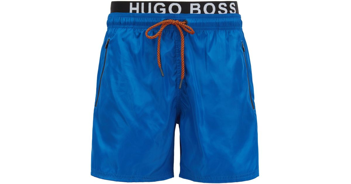f0d7b2018 BOSS Lightweight Swim Shorts With Double Waistband in Blue for Men - Lyst
